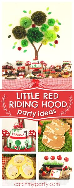 Don't miss this pretty Little Red Riding Hood birthday party. The birthday cake is so cute!! See more party ideas and share yours at CatchMyParty.com #littleredridinghood #girlbirthday #woodland