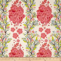 Anna Maria Horner Folk Song Small Gathering Azalea from @fabricdotcom  Designed by Anna Maria Horner for Free Spirit, this cotton print fabric is perfect for quilts, home décor accents, craft projects and apparel. Colors include shades of green, red, orange, purple, pink, blue, yellow, and cream.