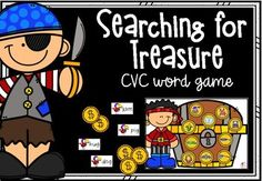 Searching for Treasure - CVC word game Bingo Board, Literacy Games, Reading Groups, Cvc Words, Little Learners, Searching, Fun, Cards, Search