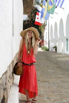 red maxi #dress #streetstyle