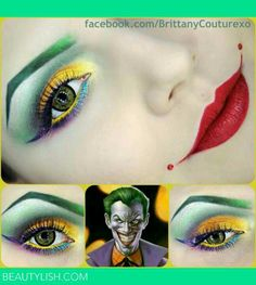 Joker makeup...love this!!! -- This makes me think that a Femme Joker could be really fun to do.