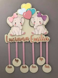 Mindfulness Gift Wooden Name Sign Nursery Decor New Baby Twins Elephant Ornament - Modern Nursery Twins, Nursery Name, Elephant Nursery, Wooden Name Signs, Wooden Names, Baby Room Decor, Nursery Decor, Nursery Room, Twin Babies