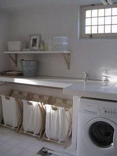 laundry nook in garage ~ laundry nook ; laundry nook in garage ; laundry nook in kitchen ; laundry nook in bathroom ; laundry nook in garage ideas Basement Laundry, Laundry Room Storage, Laundry Hamper, Laundry Room Design, Laundry In Bathroom, Laundry Rooms, Laundry Sorter, Laundry Area, Garage Laundry
