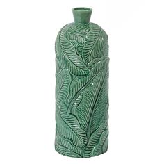 Leaf Patterned Vase, Green