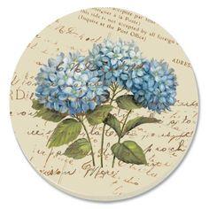CounterArt Blue Hydrangeas Absorbent Coasters, Set of 4 Decoupage Vintage, Decoupage Paper, Art Floral, Newspaper Art, Blue Hydrangea, Vintage Labels, Botanical Art, Watercolor Illustration, Pattern Wallpaper