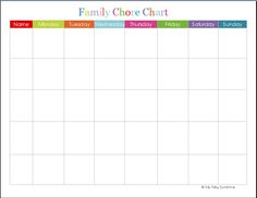 Chore Calendar for Family Fresh Family Chore Chart Printable Chore Chart Template, Free Printable Chore Charts, Free Calendar Template, Templates Printable Free, Schedule Printable, Free Printables, Weekly Chore Charts, Family Chore Charts, Weekly Chores