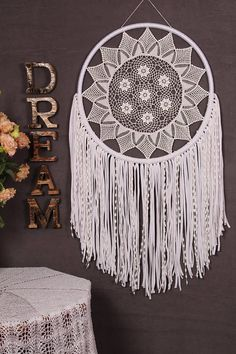 Dreamcatcher Dream catcher white Wedding Large Giant lace