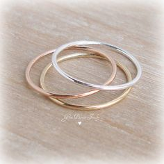 Dünne Stapeln Ringe Sterling Silber Ring 14 k von GemPassionJewelry