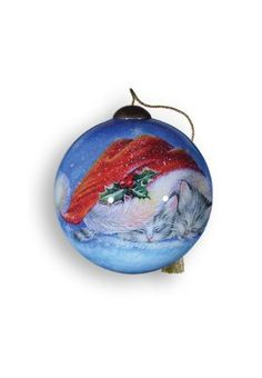 Ne'Qwa Art Meowy Christmas - Glass Ornament Hand-Painted Reverse Painting Distinctive