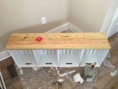 DIY Home Decor Furniture 47 Farmhouse Mudroom Bench 19 Ideas Pallet Furniture, Furniture Projects, Furniture Makeover, Home Projects, Furniture Storage, Window Furniture, Farmhouse Furniture, Wooden Crate Kitchen Storage, Crate Storage