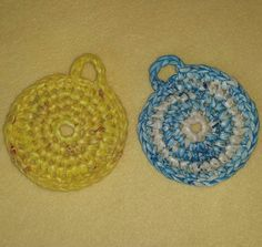 Turquoise and Yellow Plarn Dish Scrubbies by plarnstar on Etsy