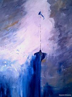 Título: Aguas de tormenta - Serie abstractos marinos - Acrílico sobre madera (60x45cm) - San Luis, Argentina - Autora: Alejandra Etcheverry