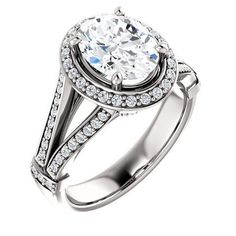 Diamond Rings : 2.0 Ct Oval Diamond Engagement Ring 14k White Gold