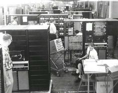 PDP-9 computer factory test area 1967. The PDP-7 and PDP-9 (made by Digital aka DEC) were the computers AT&T used to develop the Unix operating system.
