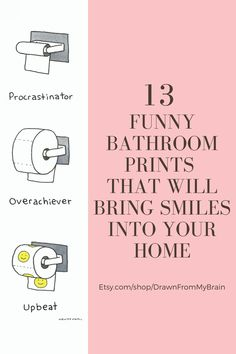 The average person spends about 2 hours per week in the bathroom, so why not give your friends a reason to laugh while they're in there? Go to Etsy shop Drawn From My Brain and check out their full range of bathroom humor, including quirky prints, weird art, and funny animal prints. They're also great for birthday gifts, dorm decor, and funny cubicle decor at the office. Your bathroom interior will never be the same! #etsy #etsyshop #bathroomart #bathroomhumor #bathroomideas