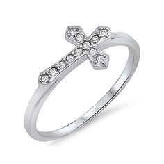 Sterling Silver Stackable Sideways Cross Ring  Size 5 *** Click on the image for additional details.(This is an Amazon affiliate link)