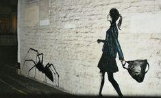 Street Art/ Graffiti of a girl walking a spider. 3d Street Art, Street Art Utopia, Street Art Graffiti, Street Artists, Pet Spider, Spider Art, Giant Spider, Spider Webs, Graffiti Artwork