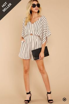 Shop Your Screenshots™ with LIKEtoKNOW.it, a shopping discovery app that allows you to instantly shop your favorite influencer pics across social media and the mobile web. Striped Playsuit, Flowy Shorts, Black Stripes, Summer Outfits, Cold Shoulder Dress, Bell Sleeve Top, Rompers, Beige, Fashion Outfits