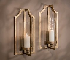 ME3018 - Antique Gold Iron Candle Wall Sconce with Glass, Set of 2 - Candle Holders