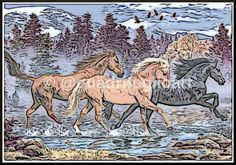 acuarela de caballos salvajes