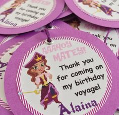 Pirate Princess from Jake and the Neverland Pirates Birthday Party Gift Tags on Etsy, $8.00