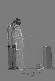 Sad Drawings, Dark Art Drawings, Art Drawings Sketches Simple, Pencil Art Drawings, Drawing Drawing, Cartoon Drawings, Sad Paintings, Sketches Of Love, Dark Art Illustrations