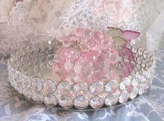 Vanity Tray Austrian Crystal Mirror Dresser Shabby and Chic Romantic Decor Romantic Cottage, Shabby Chic Cottage, Vintage Shabby Chic, Mirror Vanity Tray, Glass Vanity, Glass Dresser, Dresser With Mirror, Shabby Chic Boutique, Victorian Bedroom