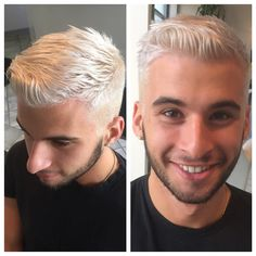 """He had dark brown hair before we got to him @olaplex @matrix #GlossSalonBoston #silverhair"""
