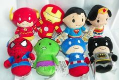 LOT-All-8-HALLMARK-Itty-Bittys-Bitty-Superhero-Superman-Wonder-Woman-Hulk-Batman Spiderman Captain America The Flash Iron Man
