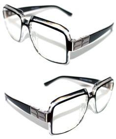 Men's Women's Vintage 607 Hip Hop Clear Lens Eye Glasses Run DMC Black Clear Slv #Stars #Square