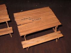 """Picnic tables for our customer. Labeled """"Radium Hot Springs"""". A popular tourist attraction in British Columbia"""