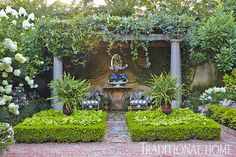 "Carns Garden. Shaded Arbor and Sitting Area  An arbor offers a shady spot along the back wall of the back courtyard. ""My garden is a mix of formal and casual,"" explains Judy. ""I love the casualness of black-eyed Susans and sunflowers combined with elegant and dazzling tropicals like orchids and mandevillas.""  Picturesque Courtyard Garden 