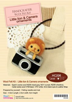 Needle Felting DIY Little lion and Camera ornaments : English Material Kit (English / For Beginner)