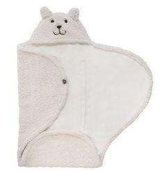 JOLLEIN Wikkeldeken collectie: Bear, off-white, ecru, met gordeluitsparing Dit wikkeldeken is een universeel deken, die uw kindje lekker warm houdt.  Ideaal voor gebruik in de autostoel, waarna uw kin