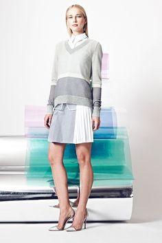 Misha Nonoo | Resort 2015 | 05 Grey/white color block long sleeve sweater and pleated mini skirt