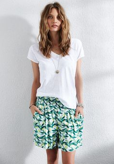 Printed Chloe Shorts in palm print from hush