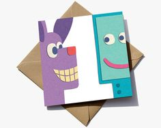 1st birthday card for a boy or girl. The number 1 is in the negative space between a dog and robot.  The cute characters have the appearance of sugar paper giving them a playful quality that children will love.