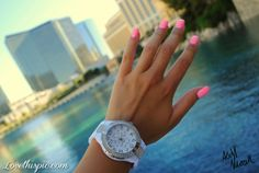 Pink Nails and watch fashion girly cute photography nails girl ocean nail polish nail pretty girls photo style watch pretty nails nail art