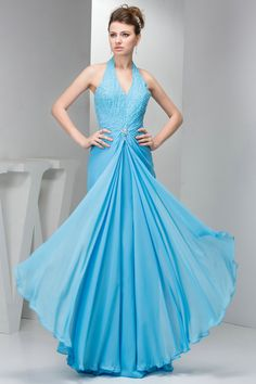 Handmade Beading 2013 Column Low Back Blue Halter Prom Dresses £115