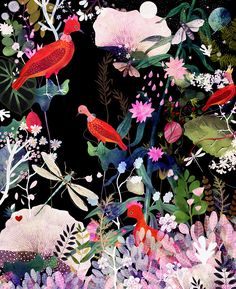 enchanted night by dansedelune. birds, botanical, night, floral, magical, fairytale,