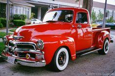 antique pickup trucks | 1954 Red Chevy Pick-up Truck - GA645zi - Astia 100 | Flickr - Photo ...