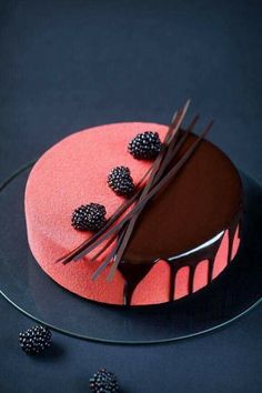 Rubus - Blackberry, Cream Cheese & Chocolate Mousse Entremet (in Russian and Portuguese) Pretty Cakes, Beautiful Cakes, Amazing Cakes, Beautiful Life, Cupcake Torte, Mirror Glaze Cake, Cake Photography, Mousse Cake, Plated Desserts