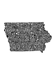 Typographic Iowa Art Print by capow Iowa State, State Map, State Parks, Waterloo Iowa, Burlington Iowa, Uss Iowa, Des Moines Iowa, Marion County, Cool Pictures