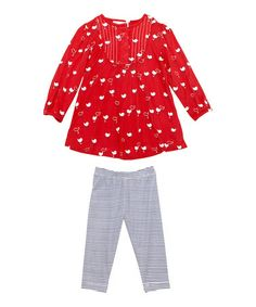 Take a look at this Red Chickie Top & Blue Stripe Leggings - Infant by Masala Baby on #zulily today!