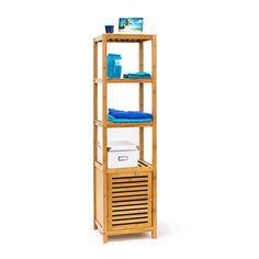relaxdays tagre pour salle de bain cuisine armoire avec porte refermable bois de bambou 5 tages door