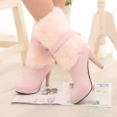 #Bowknot #Ankle #Toe Lovely Pink Ankle High PU Closed Toe Bowknot Stiletto Heel Boots
