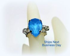 Blue Swarovski Crystal Ring Wire Wrapped Ring Sterling Silver Jewelry Custom US Size 4 5 6 7 8 9 10 11 12 13 14 15 Ring Box Included by JewelsInspire on Etsy Wedding Pins, Wedding Jewelry, Swarovski Crystal Rings, Wire Wrapped Rings, Locket Necklace, Jewelry Making Supplies, Sterling Silver Jewelry, Gemstone Rings, Jewels