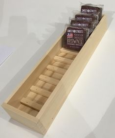 rustic wood slotted bakery candy countertop display