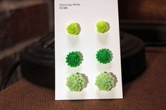 shades of green set of three earrings by popstarscrafts on Etsy, $10.00