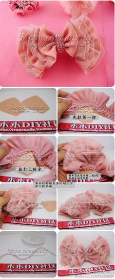 Make a bow headband How To Make A Ribbon Bow, Diy Ribbon, Ribbon Crafts, Ribbon Bows, Ribbon Hair, Ribbons, Hair Bow Tutorial, Flower Tutorial, Making Hair Bows